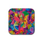 Colorful Floral Abstract Painting Drink Coasters 4 Pack (Square)