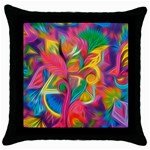 Colorful Floral Abstract Painting Black Throw Pillow Case