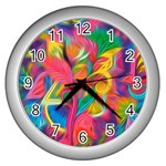 Colorful Floral Abstract Painting Wall Clock (Silver)