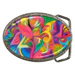 Colorful Floral Abstract Painting Belt Buckle (Oval)