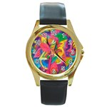 Colorful Floral Abstract Painting Round Leather Watch (Gold Rim)