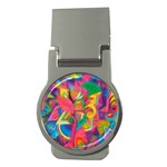 Colorful Floral Abstract Painting Money Clip (Round)