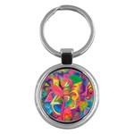 Colorful Floral Abstract Painting Key Chain (Round)