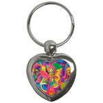 Colorful Floral Abstract Painting Key Chain (Heart)