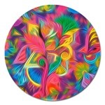 Colorful Floral Abstract Painting Magnet 5  (Round)