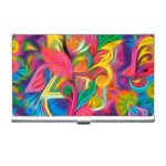 Colorful Floral Abstract Painting Business Card Holder