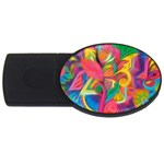 Colorful Floral Abstract Painting 2GB USB Flash Drive (Oval)