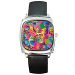 Colorful Floral Abstract Painting Square Leather Watch