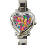 Colorful Floral Abstract Painting Heart Italian Charm Watch