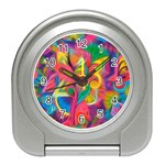 Colorful Floral Abstract Painting Desk Alarm Clock