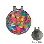 Colorful Floral Abstract Painting Hat Clip with Golf Ball Marker