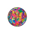 Colorful Floral Abstract Painting Golf Ball Marker 4 Pack (for Hat Clip)