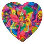 Colorful Floral Abstract Painting Jigsaw Puzzle (Heart)