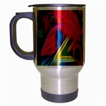 Colorful Floral Abstract Painting Travel Mug (Silver Gray)