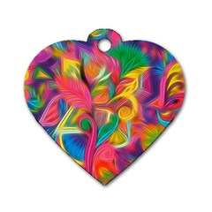 Colorful Floral Abstract Painting Dog Tag Heart (two Sided) by KirstenStar