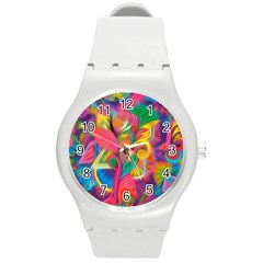 Colorful Floral Abstract Painting Plastic Sport Watch (medium) by KirstenStar