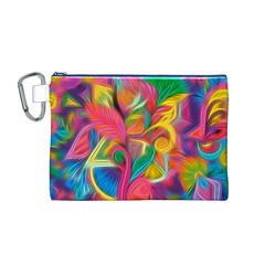 Colorful Floral Abstract Painting Canvas Cosmetic Bag (Medium) by KirstenStar