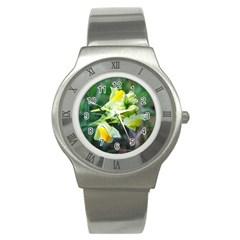 Linaria Flower Stainless Steel Watch (slim) by ansteybeta