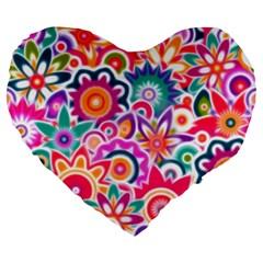 Eden s Garden Large 19  Premium Flano Heart Shape Cushion by KirstenStar