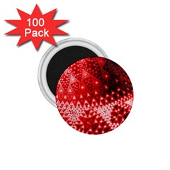 Red Fractal Lace 1 75  Button Magnet (100 Pack) by KirstenStar