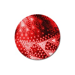 Red Fractal Lace Magnet 3  (round) by KirstenStar