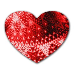 Red Fractal Lace Mouse Pad (heart) by KirstenStar