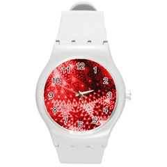 Red Fractal Lace Plastic Sport Watch (medium) by KirstenStar