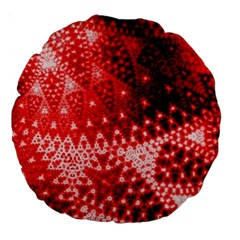 Red Fractal Lace Large 18  Premium Round Cushion  by KirstenStar