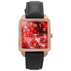 Red Fractal Lace Rose Gold Leather Watch  by KirstenStar