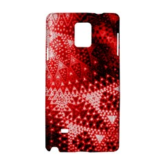 Red Fractal Lace Samsung Galaxy Note 4 Hardshell Case by KirstenStar