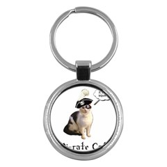 Pi Rate Cat Key Chain (round) by brainchilddesigns