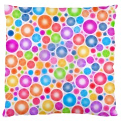 Candy Color s Circles Large Flano Cushion Case (two Sides) by KirstenStar