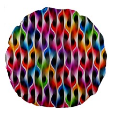 Rainbow Psychedelic Waves Large 18  Premium Round Cushion  by KirstenStar