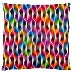 Rainbow Psychedelic Waves Large Flano Cushion Case (two Sides) by KirstenStar