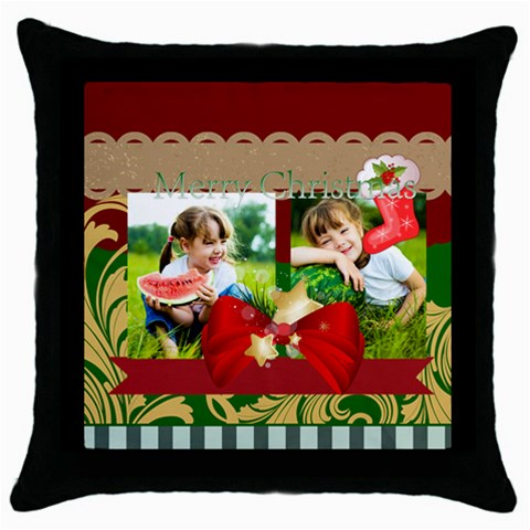 Xmas By Xmas   Throw Pillow Case (black)   Vdv50y146xb7   Www Artscow Com Front