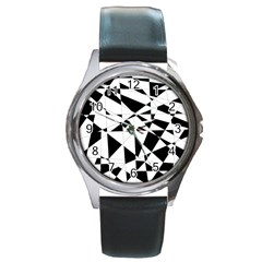 Shattered Life In Black & White Round Leather Watch (silver Rim) by StuffOrSomething