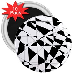 Shattered Life In Black & White 3  Button Magnet (10 Pack) by StuffOrSomething