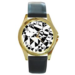 Shattered Life In Black & White Round Leather Watch (gold Rim)  by StuffOrSomething