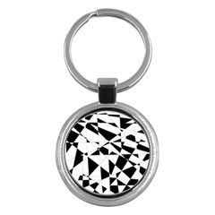 Shattered Life In Black & White Key Chain (round) by StuffOrSomething