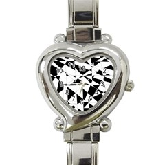 Shattered Life In Black & White Heart Italian Charm Watch