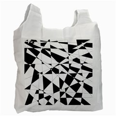 Shattered Life In Black & White White Reusable Bag (one Side) by StuffOrSomething