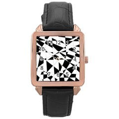 Shattered Life In Black & White Rose Gold Leather Watch  by StuffOrSomething