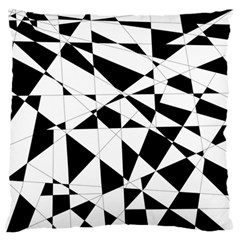 Shattered Life In Black & White Large Flano Cushion Case (one Side) by StuffOrSomething