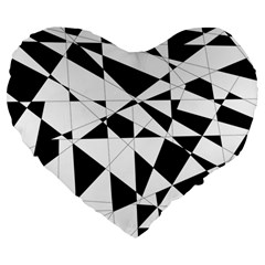 Shattered Life In Black & White Large 19  Premium Flano Heart Shape Cushion by StuffOrSomething