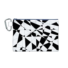 Shattered Life In Black & White Canvas Cosmetic Bag (medium)
