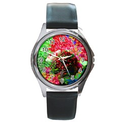 Summer Time Round Leather Watch (silver Rim) by icarusismartdesigns