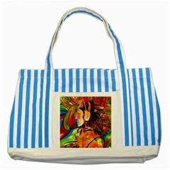 Robot Connection Blue Striped Tote Bag by icarusismartdesigns