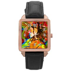 Robot Connection Rose Gold Leather Watch  by icarusismartdesigns