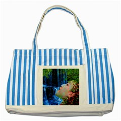 Fountain Of Youth Blue Striped Tote Bag by icarusismartdesigns