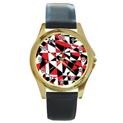 Shattered Life Tricolor Round Leather Watch (gold Rim)  by StuffOrSomething